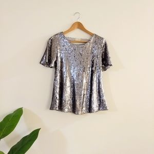 Altar'd state gray sequined blouse